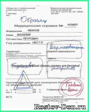 Справка для бассейна в Москве Обручевский